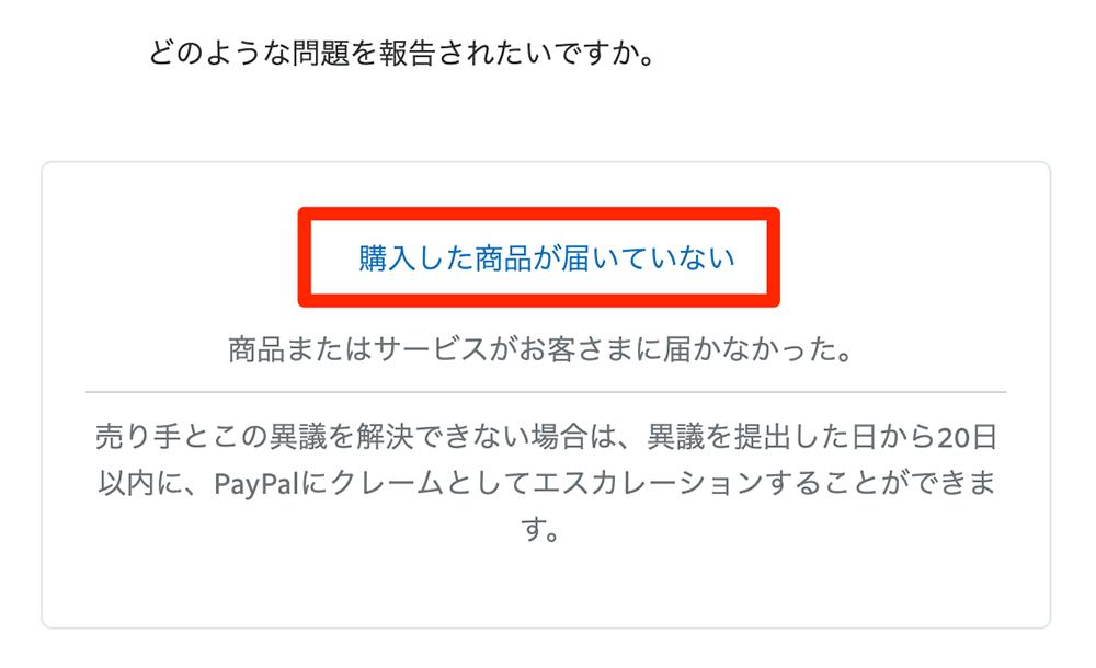 paypal問題報告画面